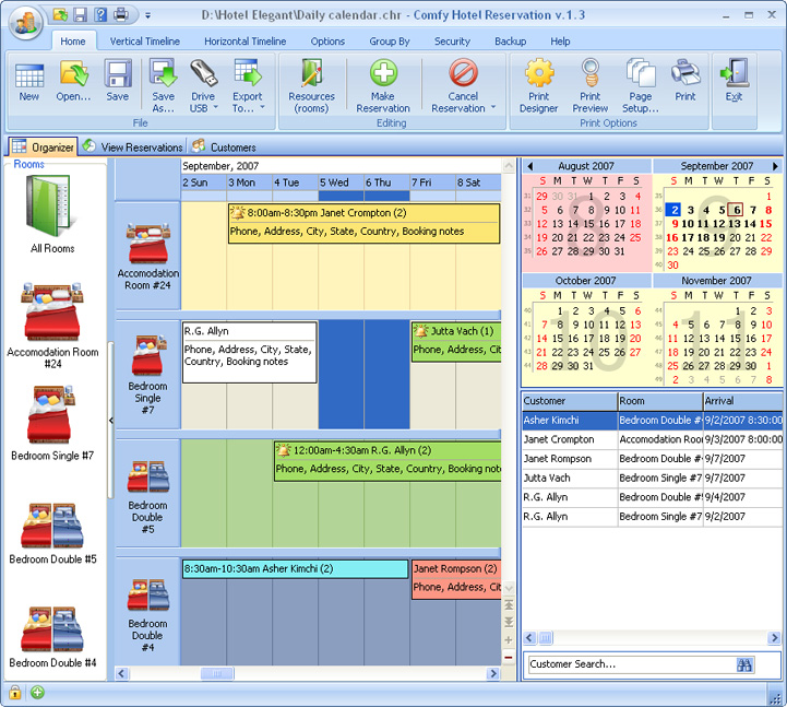 Click to view Comfy Hotel Reservation for Workgroup 3.6 screenshot