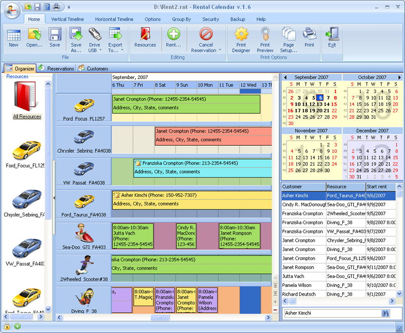 Click to view Rental Calendar for Workgroup 3.8 screenshot