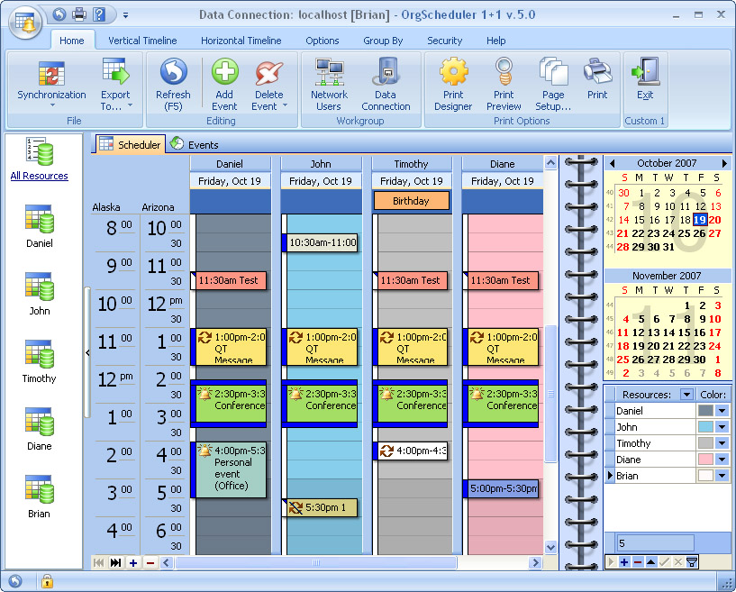 Click to view OrgScheduler 1+1 8.7 screenshot