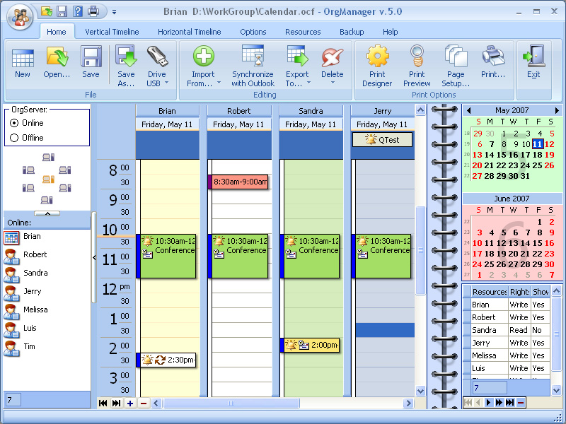OrgScheduler LAN Screen shot