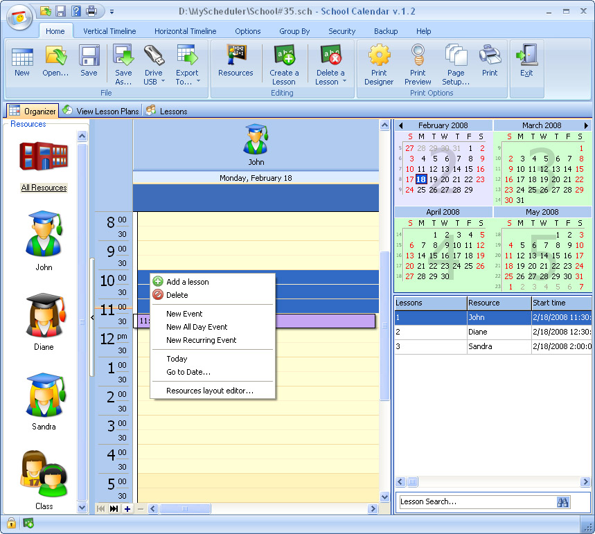 Click to view School Calendar 3.5 screenshot