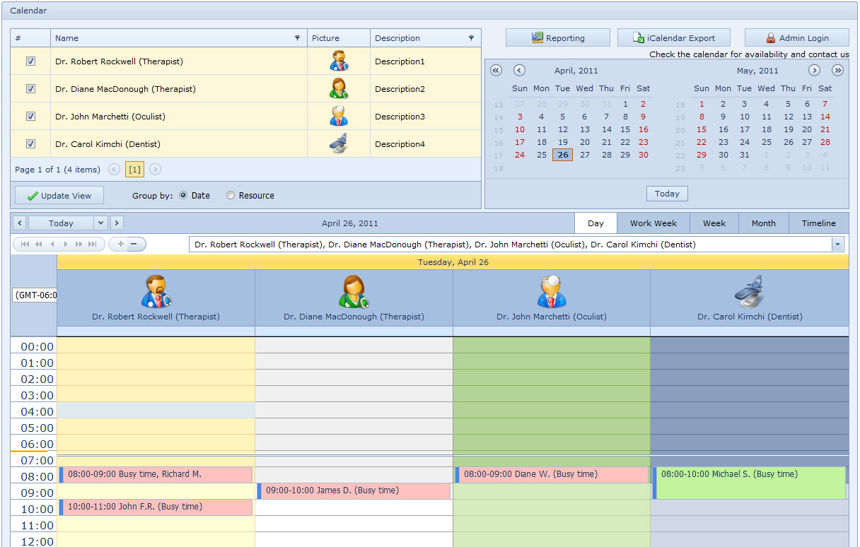 Medical Calendar for Workgroup Screen shot