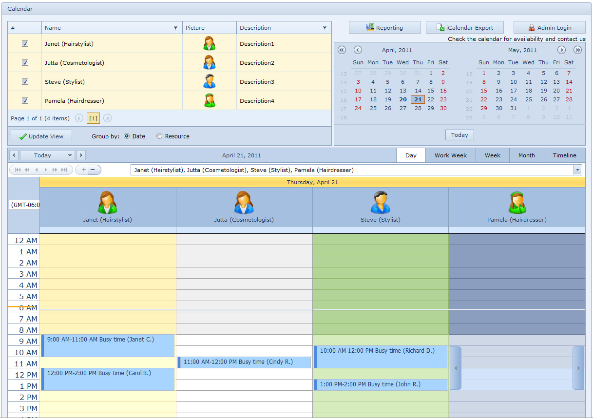 Salon Calendar for Workgroup Screen shot