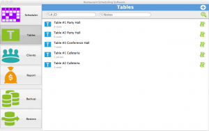 Restaurant Scheduling Software for Mac - tables